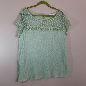 LC Lauren Conrad shirt mint green lace XL